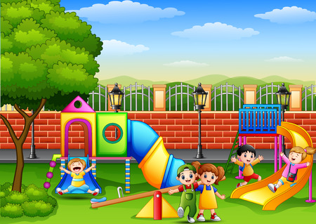 Vector illustration of Happy children playing in the school playground