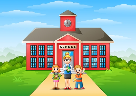 A students and teacher in front of school building Stock Photo