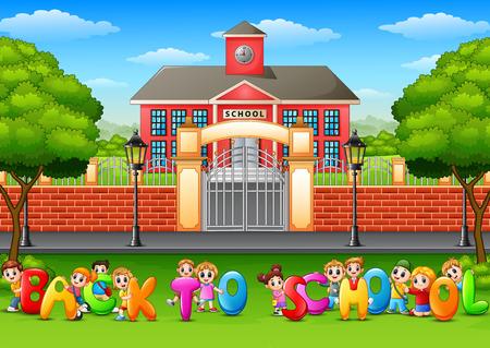 """Šťastné školní děti drží slova """"Zpět do školy"""" před školní budovou"""