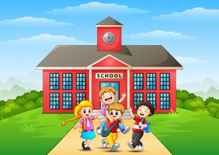 Happy childrens cartoon in front of school building