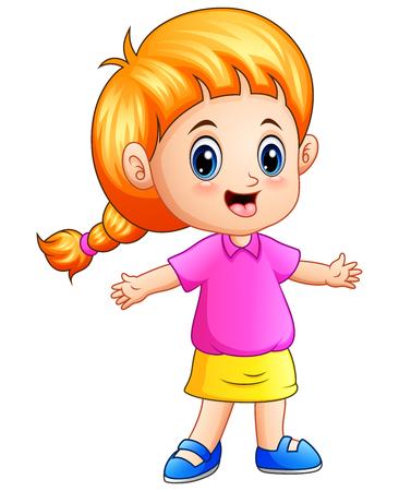 96e407625fd  82746865 - Vector illustration of Cartoon little girl with blond hair