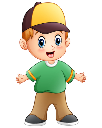 Vector illustration of Cartoon little boy waving hands