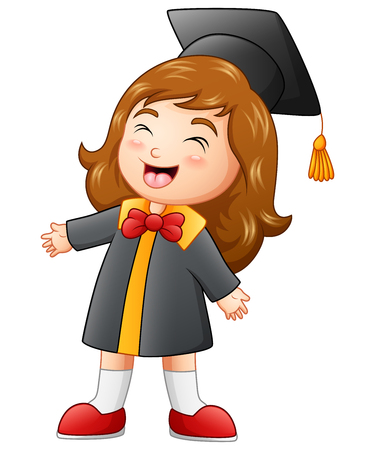 i i  i i toga: Ilustración vectorial de feliz niña de graduación de dibujos animados