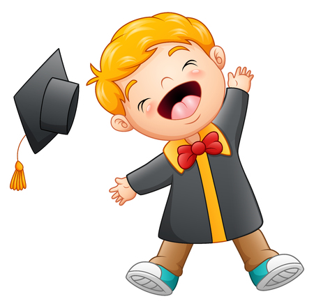 벡터 일러스트 레이 션의 행복 한 졸업 만화 소년 만화 스톡 콘텐츠 - 82747243