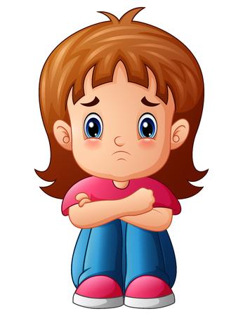 Vector illustration of Sad girl cartoon sitting alone Illustration