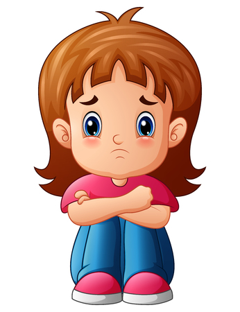 Vector illustration of Sad girl cartoon sitting alone Çizim