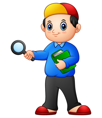 Vector illustration of Cartoon boy holding a magnifying glass and books