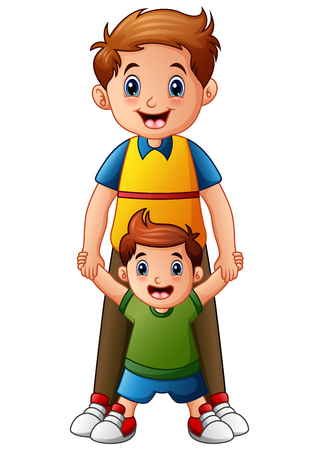 Vector illustration of Father with son holding hand together Illustration