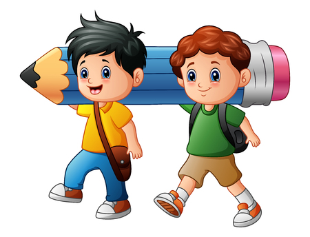 Vector illustration of Two boy cartoon holding a large pencil Çizim
