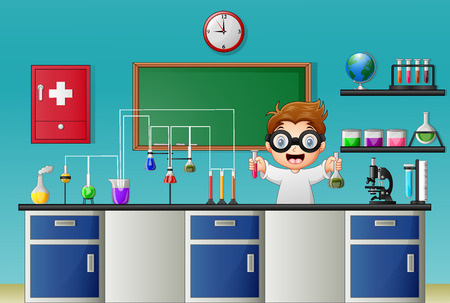 hypothesis: Vector illustration of Cartoon boy doing chemical experiment in the laboratory