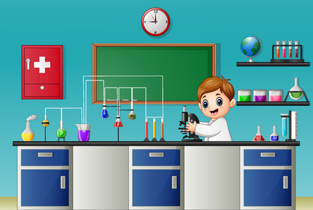 hypothesis: Vector illustration of Cartoon boy experimenting with microscope in the chemical lab