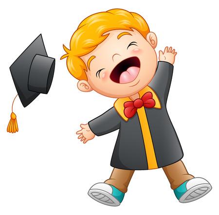 i i  i i toga: Feliz graduación muchacho de dibujos animados