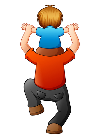 piggyback ride: Vector illustration of Little boy sitting on his father shoulders
