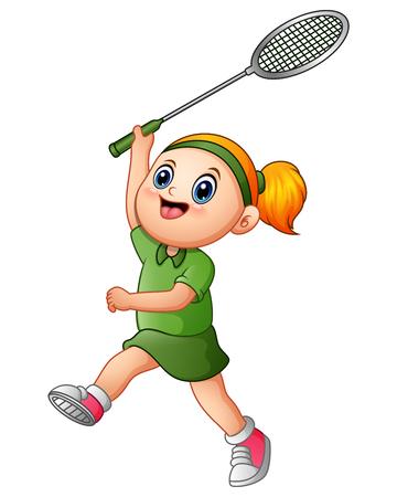 Vector illustration of Cartoon girl playing tennis