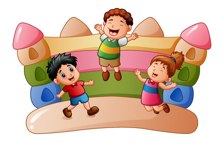 A vector illustration of Cartoon kids playing at the bouncing house Vectores