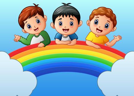 虹の漫画幸せな子供のベクトル イラスト