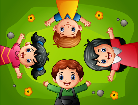 lay down: A vector illustration of Cartoon kids lying on green grass