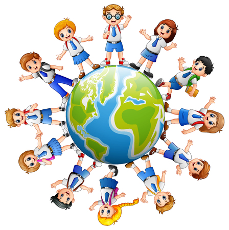 teamwork cartoon: A vector illustration of Children around the earth isolated on white background