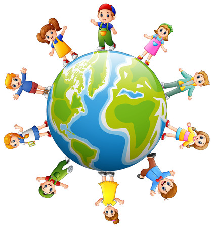 Happy children standing around the earth Banco de Imagens