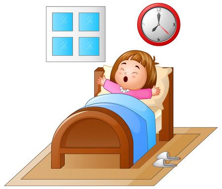 침대에서 일어나서 하품 어린 소녀