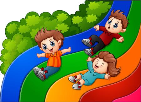 rainbow slide: Cartoon kids sliding down