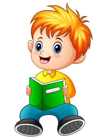 Vector illustration of Schoolboy cartoon reading a book Illusztráció