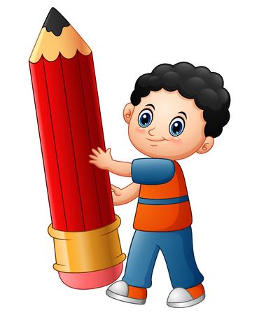 Vector illustration of Little boy cartoon holding a pencil