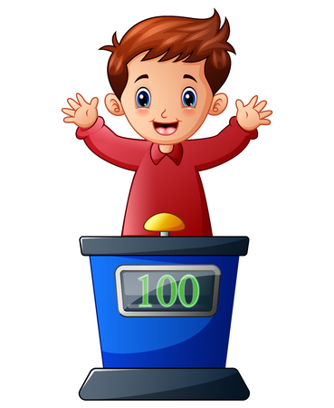 Vector illustration of Cartoon kid playing quiz game answering question