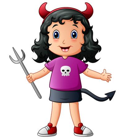 vamp: Vector illustration of Cute devil girl cartoon