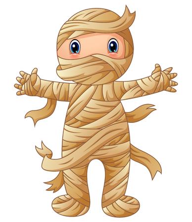 Vector illustration of Cartoon mummy standing