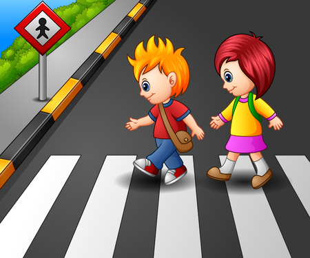 Vector illustration of Little girl and boy crossing the street