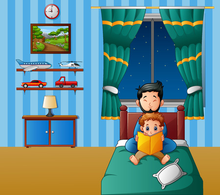 Vector illustration of Father and his son reading a book in bed at night