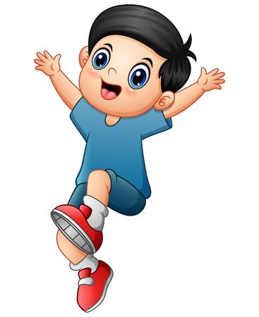 Ilustración vectorial de dibujos animados de niño feliz Ilustración de vector