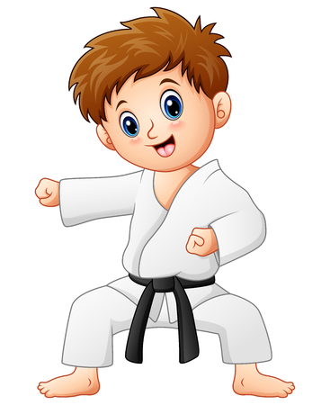 Vector illustration of Cute little boy doing karate