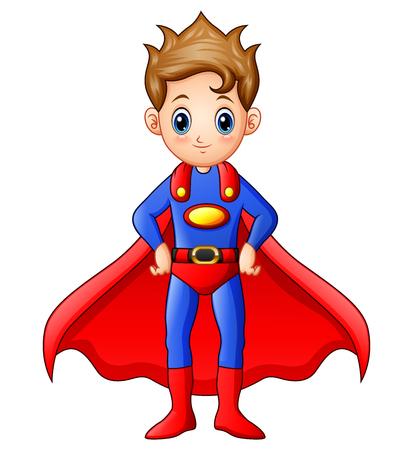 Vector illustration of Superhero boy cartoon