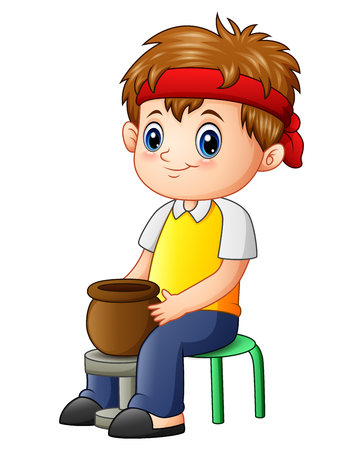 Vector illustration of Cute little boy potter makes clay pot Illustration