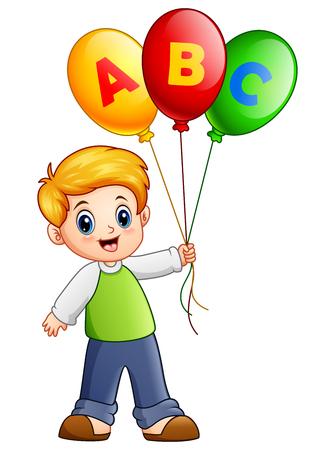 playmates: Ilustración vectorial de niño de dibujos animados sosteniendo el globo del alfabeto