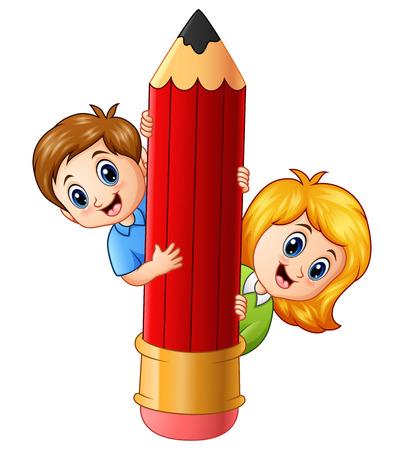 Vector illustration of Cartoon kids holding pencil