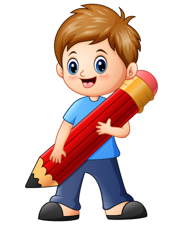 Vector illustration of Little boy holding a pencil