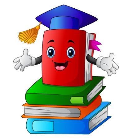 Illustration vectorielle de Book cartoon on pile book Vecteurs