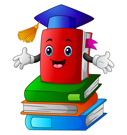 Ilustración vectorial de libro de dibujos animados en libro de pila Ilustración de vector