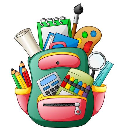 Vector illustration of School bag with school supplies Illustration