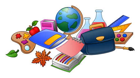 Vector illustration of Collection of school supplies