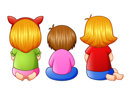 Back view of little three girl sitting together Stock fotó