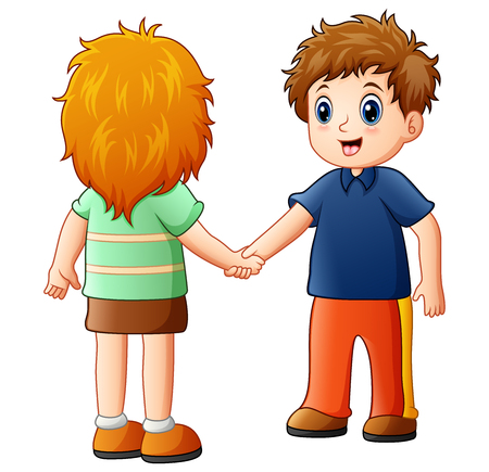 Cartoon boy and girl shaking hands Stock Photo