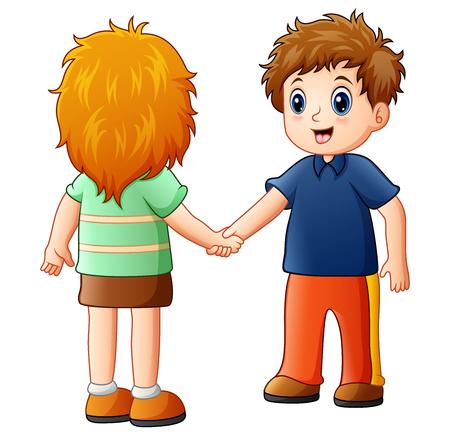 Cartoon jongen en meisje handen schudden