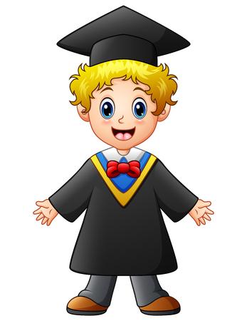 Happy graduation boy cartoon