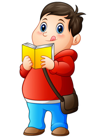 Cartoon fat boy in sweater reading a book