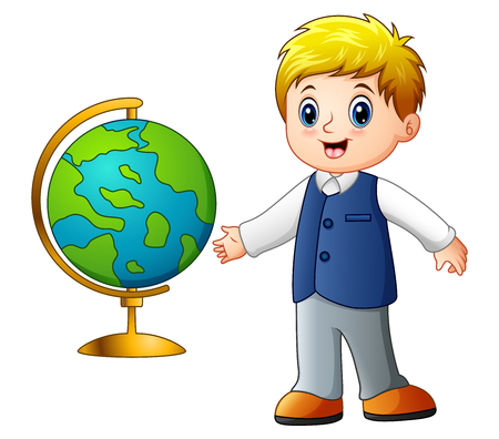 Cartoon boy showing the globe