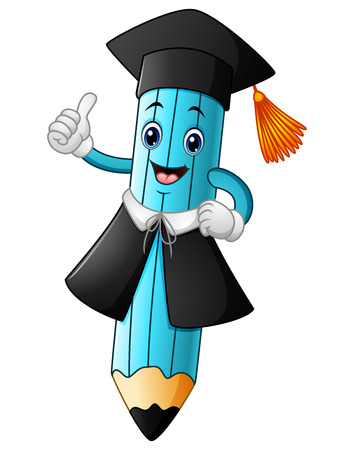 A pencil cartoon wearing a graduation cap with giving thumbs up
